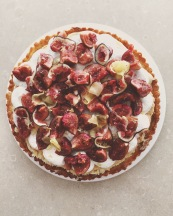 Red wine and frangipane fig tart